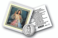 "Divine Mercy Pocket Coin with Gold Stamped Holy Card. Packaged in a Clear Soft Pouch 3"" x 3"""