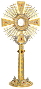 """Two-tone 24k gold plated with oxidized silver accents and four evangelists . Simulated Ruby Stones. 28"""" height. 14-1/2"""" rays . 7-3/4"""" base. Carrying case included. Clip-style (glassless) luna. Secure acrylic glass enclosed luna to hold 2-3/4"""" host is available at an additional cost"""