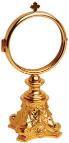 """24k gold plated, 2 3/4"""" fixed luna, 6-3/4"""" height, 3"""" base"""