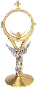 """Two-tone 24k gold plated two tone with oxidized silver angel. Clip-style luna, holds hosts up to 3"""". Monstance measurements: 10-1/2""""H., 3-3/4"""" base"""