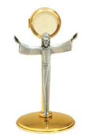 """24K Gold plated with oxidized Risen Christ figure. Secure acrylic glass luna 2-3/4"""".  Measures: 11""""H x 6""""W X 5-1/2""""B"""