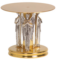 """24k Gold plated with three oxidized silver plated angels. Two-tone bright and satin finish. Dimensions: 6-1/4""""H., 5-1/4"""" base, 7"""" dia. top plate"""