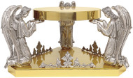 """24k Gold plated with three adoring angels oxidized silver. Dimensions: 8-1/4""""H., 17""""W., 9-1/2"""" table. Wt. 20 lbs"""