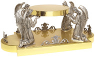 """24K Gold plated with four adoring angels oxidized silver. Dimensions:  9""""H., 17""""W., 9-1/2"""" table, 23-1/2"""" base, Wt. 30 lbs."""