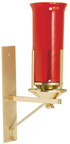 """Solid Brass Two Tone Wall Bracket for Sanctuary Lamp. Solid Brass Two Tone Wall plate measures 2 1/2W"""" bx12""""H. Wall Bracket has a depth of 8 1/2"""". The 8 day glass is NOT INCLUDED"""