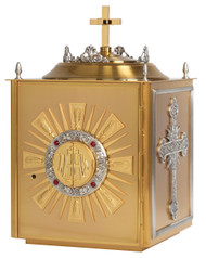"""24k gold plate, bright gold inside with silver plated accents on side and top. Outside dimensions: 18""""H. x 11-1/4""""W. x 11-1/2""""D. Door Opening 11""""H. x 8-3/4""""W. All-purpose luna included"""