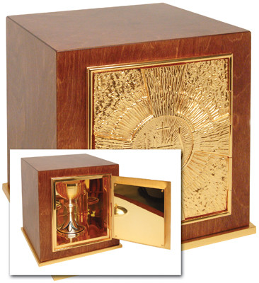 "Wood with 24k gold plate door, base frame, and interior. Bright gold plated inside. Dimensions: 11""H. x 10""W. x 10""D. Door opening: 7""H. x 6-1/2""W. Wt. 19 lbs."