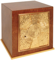 """Wood with 24k gold plate door, base frame, and interior. Bright gold plated inside. Dimensions: 11""""H. x 10""""W. x 10""""D. Door opening: 7""""H. x 6-1/2""""W. Wt. 19 lbs."""