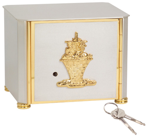 """Satin silver plated with bright 24k gold detailing and basket design on front. Bright 24k gold finish on the interior, with vault lock. 6-1/2""""H. x 8""""W. x 7""""D."""