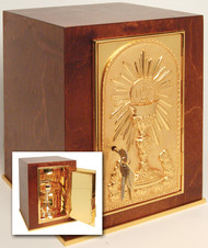 "Wood with 24k gold plate door, base frame, and interior. Bright gold plated inside. 17""H. x 11-7/8""W. x 11-7/8""D. Door opening: 13""H. x 6-1/2""W. Wt. 35 lbs."
