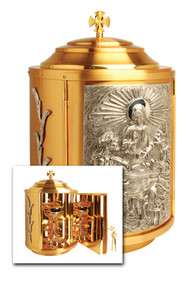 "24k gold plate, silver plated accents. Bright gold plated inside. Dimensions: 19-1/2""H. x 11-3/4"" dia. Door opening: 11-1/2""H. x 8""W. Weight. 37 lbs."