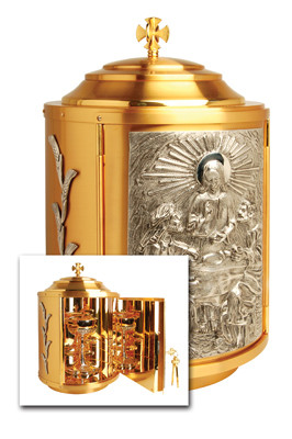 """24k gold plate, silver plated accents. Bright gold plated inside. Dimensions: 19-1/2""""H. x 11-3/4"""" dia. Door opening: 11-1/2""""H. x 8""""W. Weight. 37 lbs."""