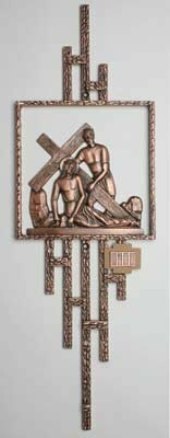 """Set of 14 stations are made of solid bronze with an antique finish. Stations measure 16""""H x 15-3/4""""W"""