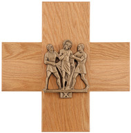 """Mounted on 16"""" x 16"""" oak cross plaque Cast figures finished in statuary bronze or 24K gold plated"""
