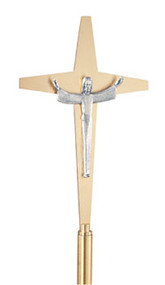 "Risen Christ Lightweight Aluminum Cross. 10-1/2"" x 17"". 78""H., 12"" base. In satin brass or satin bronze."