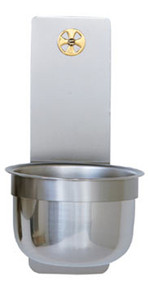 "Stainless Steel Holy Water Font with solid brass cross. 3"" x 9"" Backplate. 5"" Diameter bowl"
