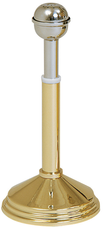 "This reservoir style holy water sprinkler is 10-1/2"" in height.  The stainless steel sprinkler comes with a polished brass stand and is also available with a 24K Gold plated stand"