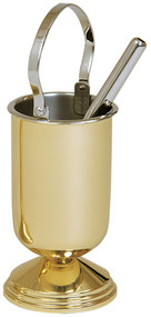 Solid brass, polished finish. 9˝H. With removable stainless steel liner.