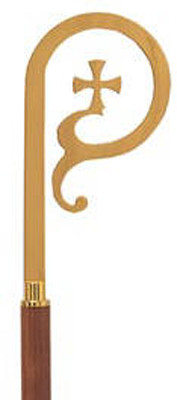 """Crozier with 5"""" Walnut Staff. 72"""" Height overall. Available in 24K gold, stainless steel or satin brass. Wooden shaft does not break down to fit into K61 case"""