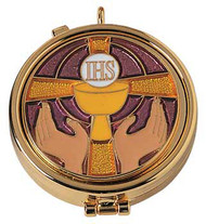 "24K Gold plate, enameled emblem on cover. 2"" x 5/8"" . Host Capacity-7 (Based on 1 1/8"" host). Use with burse K3110 sold separately."
