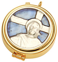 """24K gold plate pyx. Enameled emblem on cover. Dimensions are 2"""" x 5/8"""".  Host Capacity-7 (Based on 1 1/8"""" host). Use with burse K3110 sold separately."""