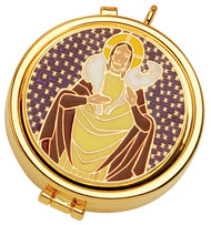 "24K gold plate pyx. Enameled emblem on cover. Dimensions are 2"" x 5/8"".  Host Capacity-7 (Based on 1 1/8"" host). Use with burse K3110 sold separately."