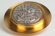 """24k gold plated with a satin finish.  Cover has an oxidized silver emblem. Bright finish inside. Pyx is 4""""D and has a 35 host capacity (based on 1 1/8"""" host). Use with burse K3148, sold separately."""