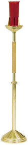 """Brass and Oak Appointments. Floor Sanctuary Lamp is highly polished and clear lacquered. Dimensions: 46""""H. to bobeche, 10-1/2"""" base. Glass not included. Furnished in light or dark oak"""