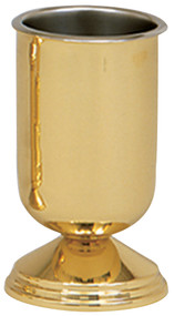 Vase is a solid brass with a high polished finish. 9˝H., 5˝ base, with a stainless steel liner.