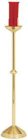 """Ecclesiastical Brass Appointments are highly polished and clear lacquered. Dimensions: 46"""" height to bobeche, 10-1/2"""" base. 7 day Glass not included."""