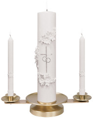 """Brass, 3"""" height x 15"""" wide. 5"""" Weighted Base.  Satin or Polish Finish . Candles NOT included"""