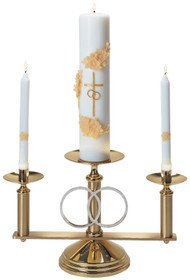 Solid brass, 10-3⁄4˝H. x 18˝W., 7˝ base, 7⁄8˝ sockets. Center adapts to any candle. Side candles removable for lighting. Silver plated rings. Candles not included.