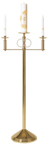 Solid brass. 50˝H. x 22˝W. 12˝ weighted base. Center adapts to any candle. Silver plated rings, 7⁄8˝ sockets. Side candles removable for lighting. Candles not included.