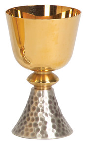"Gold plated, two tone bright and satin finish cup and node. Silver plated hammered finish on base. 3"" base, 5 3/4"" height, 3 1/2"" diameter cup, 10 ounce capacity. Complements Ciborium 357"