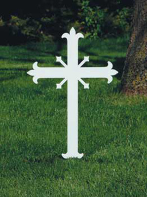 """Fleur-de-Lis Cross,  Without Plaque. Memorial Crosses: Steel cross, 20""""H in ground; 31""""H overall; 13""""W, 3/16"""" thick. Durable protective white powdercoat finish. Mounted Plaques: Engraved plaques for above cross. 1"""" x 3"""". All bright brass with  """"With """"In Memory of"""" and the deceased persons name engraved Flat Fee  $15.00. All Bright Brass Blank Plaques $9.50. Engraving Plaques - See Item KOL-ENG1"""