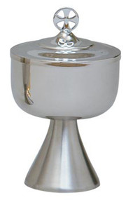 "Stainless Steel, outside of cup and lid highly polished with satin finish base. 7 1/2"" height, 4-1/2"" diameter cup, 400 host capacity (Based on 1 1/8"" Host). Complements Chalice 564"