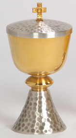 "Gold plated, two-tone bright and satin finish cup and node. Silver plated hammered finish on base and lid. 7"" height, 3-1/2"" diameter cup, 3"" base. 150 host capacity (Based on 1 1/8"" Host). Complements Chalice 356"