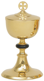 "Gold plated, 4 3/4"" Base. 8 1/2"" height, 3 3/4"" diameter cup.  250 host capacity (Based on 1 1/8"" Host). Complements Chalice 106"
