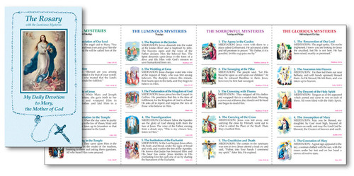 "How to Say the Rosary Tri Fold Pamphlet. Measures 3 3/8"" x 6 3/16"" folded. Cómo decir el folleto del triple folleto del rosario.  Available in English or Spanish"