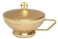 "Ciborium is 24K gold plated with handle. Dimensions are 5""H x  5.5""D.  Host capacity is  250 (Based on 1 1/8"" Host)"