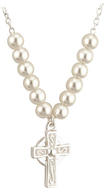 Celtic cross pendant glass pearl necklace 16in st jude shop inc silver plated celtic cross pendant comes on a 16 chain with glass pearls complements aloadofball Images