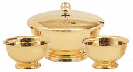 "Three Piece Set ~ Gold plate. Pieces can be purchased separately. 8"" diameter Bowl & Cover, 6"" height bowl, 1200 Host capacity. Ciborium Only ~ 5"" Open, 200 Host capacity. Bowl Only ~ 8"" diameter, no cover"