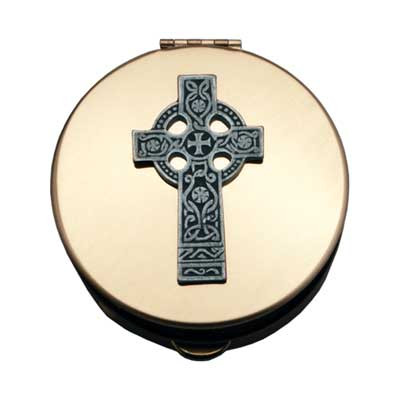 """Polished Brass Pyx with Celtic Cross. Polybagged  Size 1- PS141: Holds 6-9 Host,  Diameter 1 1/2"""", Depth 1/2""""  Size 2- PS142: Holds 12-15 Host,  Diameter 2 1/8"""", Depth 1/2""""  Size 3- PS143: Holds 20-25 Host, Diameter 2 7/8"""", Depth 1/2""""  Size 4- PS144: Holds 40-50 Host, Diameter 1"""", Depth 1"""""""