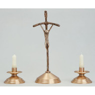 "Pope John Paul Crucifix. Bronze, Satin Finish Crucifix. Oxidized Silver Corpus. 15"" Height. 5"" Base. Complementary Candlestick K525-CS"