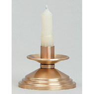 "Bronze, Satin Finish Candlestick. 2"" Height, 4"" Base. 7/8"" socket. Complementary Crucifix K535-AC"