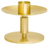"Solid Brass, Satin Finish Candlestick. 3 3/4"" Height, 5"" Base. 1 1/2"" socket. Complementary Crucifix K544-AC"