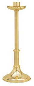 "Brass Two Tone finish Paschal Candle Holder. Dimensions: 28"" Height, 10 1/2"" Base, 2 1/2"" Socket. Low Profile"
