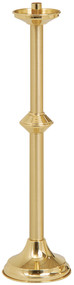 Acolyte Candlestick K137 is a solid brass, two-tone satin and bright finish. 24˝H., 6˝ base, 7⁄8˝ socket.