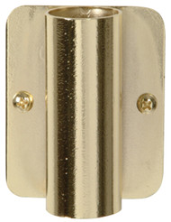 """Bright Brass plated permanent torch pew bracket is 3""""H x  2 3/8""""W. Extends out 1 1/4"""" from Pew"""