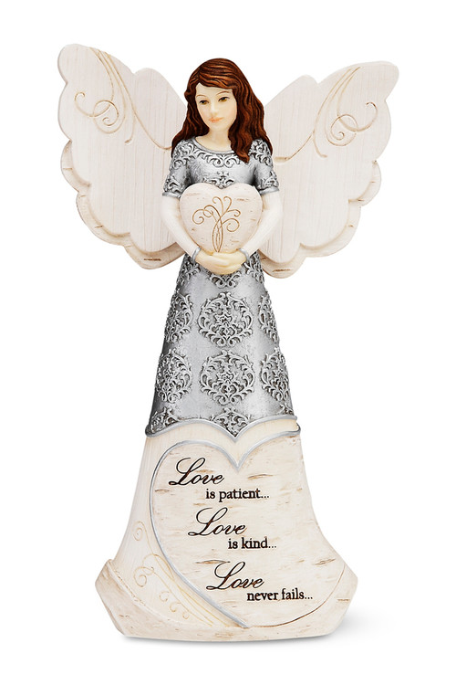 """6"""" Angel holding Heart    Inscribed with: Love is patient. . .Love is kind. . .Love never fails. . ."""